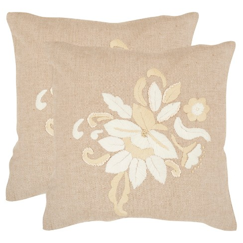 Awe Inspiring Beige June Throw Pillows 2 Pack 22X22 Safavieh Ocoug Best Dining Table And Chair Ideas Images Ocougorg
