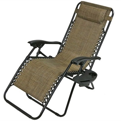 Exceptionnel Zero Gravity Lounge Chair With Pillow And Cup Holder   Single   Brown    Sunnydaze Decor