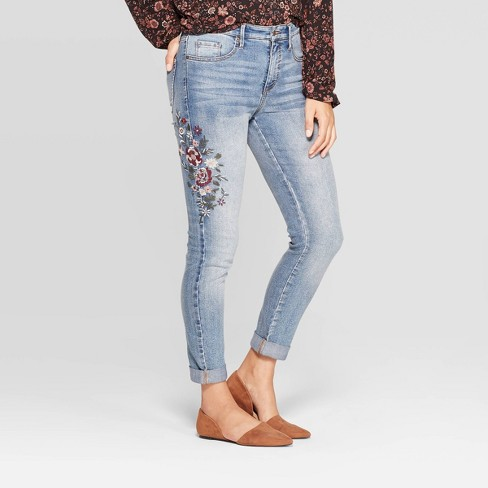 Women's Mid-Rise Ankle Length Embroidered Denim Pants - Knox Rose™ Light Wash - image 1 of 3
