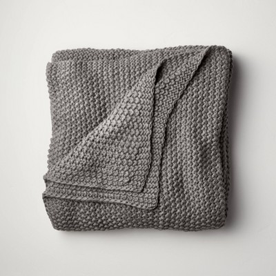 Full/Queen Chunky Knit Bed Blanket Dark Gray - Casaluna™