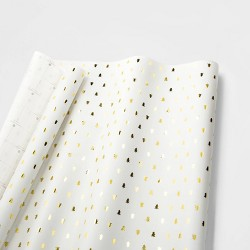 White with Gold Christmas Trees Gift Wrap Single Roll - sugar paper™
