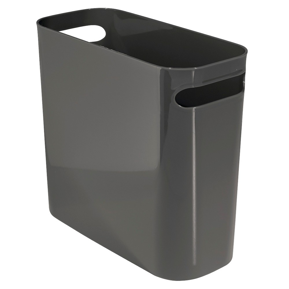 InterDesign Una Plastic Rectangular Wastebasket - Slate (Grey) (10)