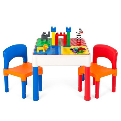 Best Choice Products 3-in-1 Kids Activity Table Set w/ Building Block Table, Craft Table, Water Table, Storage, 2 Chairs