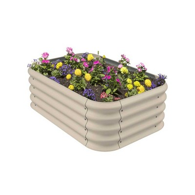 Stratco Raised Corrugated Galvanized Steel Metal Outdoor Decor Garden Vegetable Bed Planter Box with 8 Cubic Feet Capacity, 41 x 28 x 13 Inches, Beige