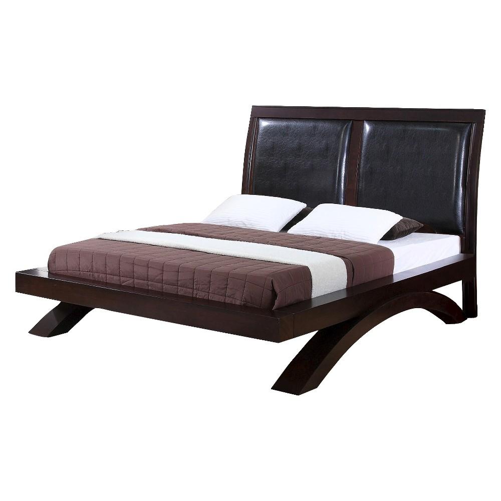 Landon Platform Bed with Polyurethane Headboard King Espresso - Picket House Furnishings, Brown