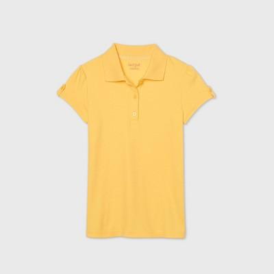 Girls' Short Sleeve Interlock Uniform Polo Shirt - Cat & Jack™ Yellow
