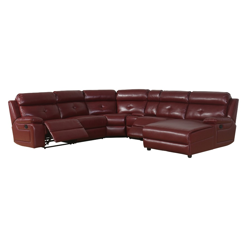 Image of 6pc Kiarra Bonded Leather Reclining Sectional Red - Abbyson Living