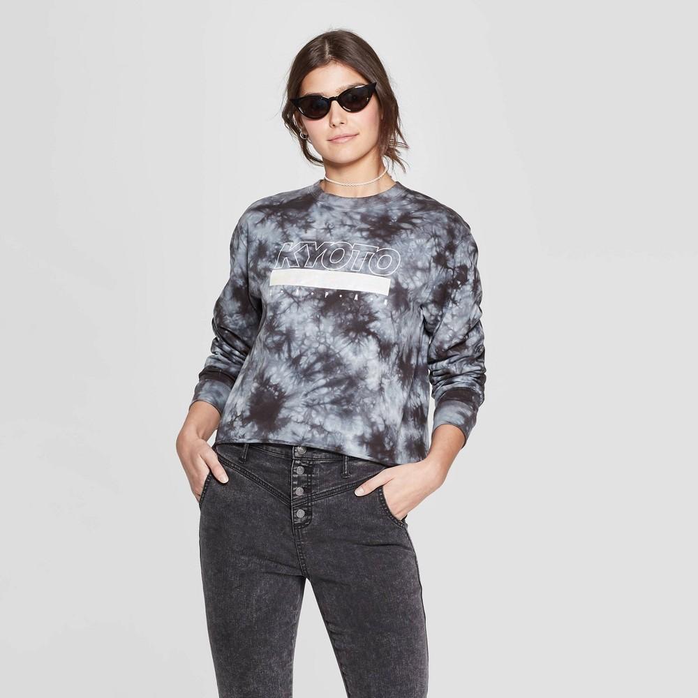 Women's Long Sleeve Crewneck Kyoto Cropped T-Shirt - Mighty Fine (Juniors') - Gray Xxl, Black