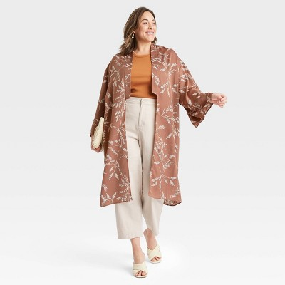 Women's Woven Printed Duster - A New Day™ Taupe