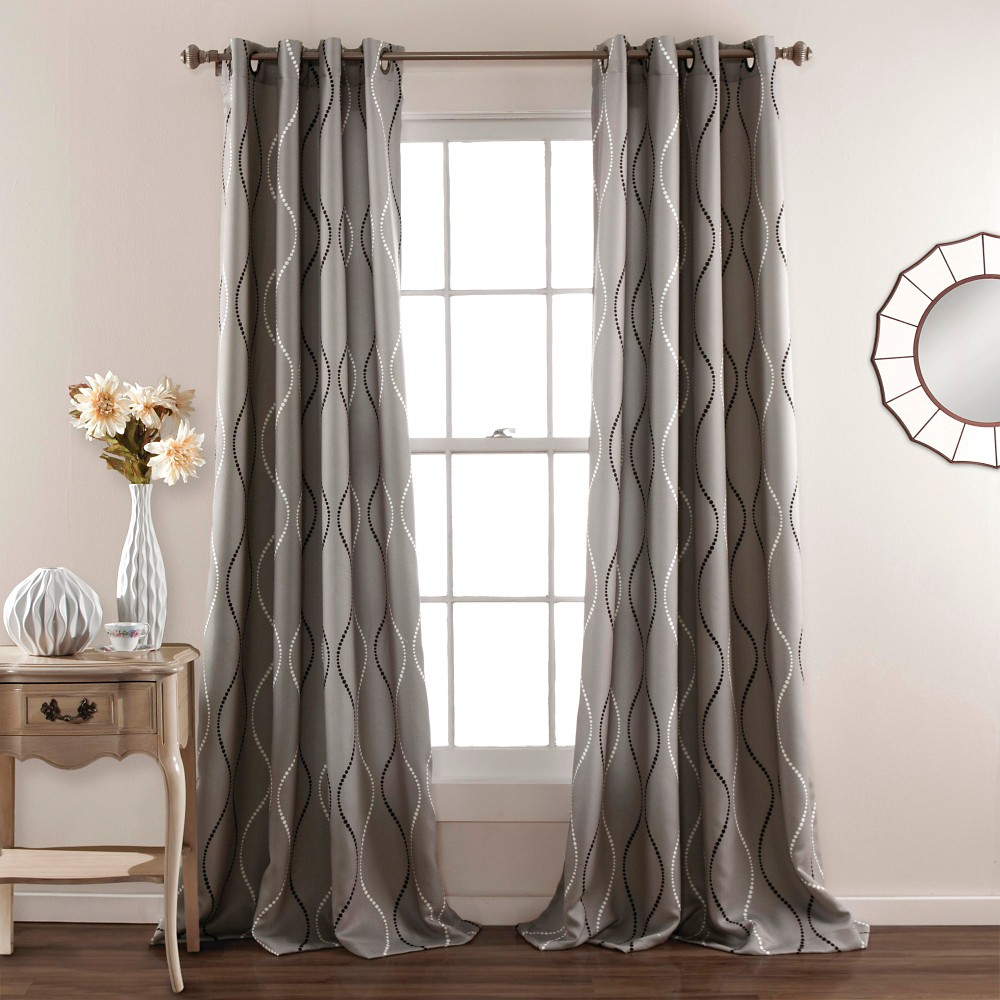 Swirl Curtain Panels Room Darkening - Set of 2 - Gray