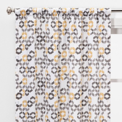 "Set of 2 84""x40"" Esina Light Filtering Honeycomb Window Curtain Panels Gray/Yellow - Project 62™"
