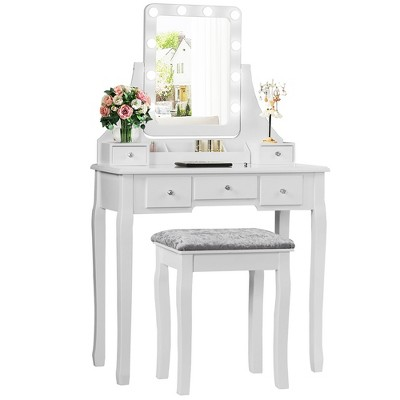 Costway Vanity Dressing Table Set w/ 10 Dimmable Bulbs Touch Switch Cushion Stool White\Black\Brown