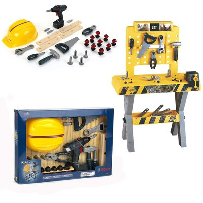 Theo Klein Bosch DIY Construction Premium Toy Toolset Bundle with Bosch Safety Accessories Set and Caterpillar Workbench for Ages 3 and Up