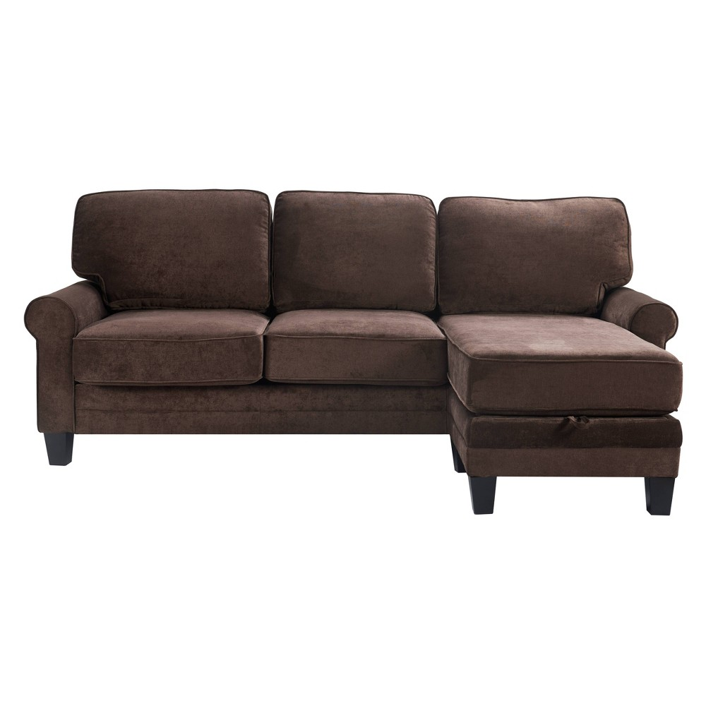 "Image of ""86"""" Copenhagen Reversible Small Space Sectional with Storage Dark Brown - Serta"""