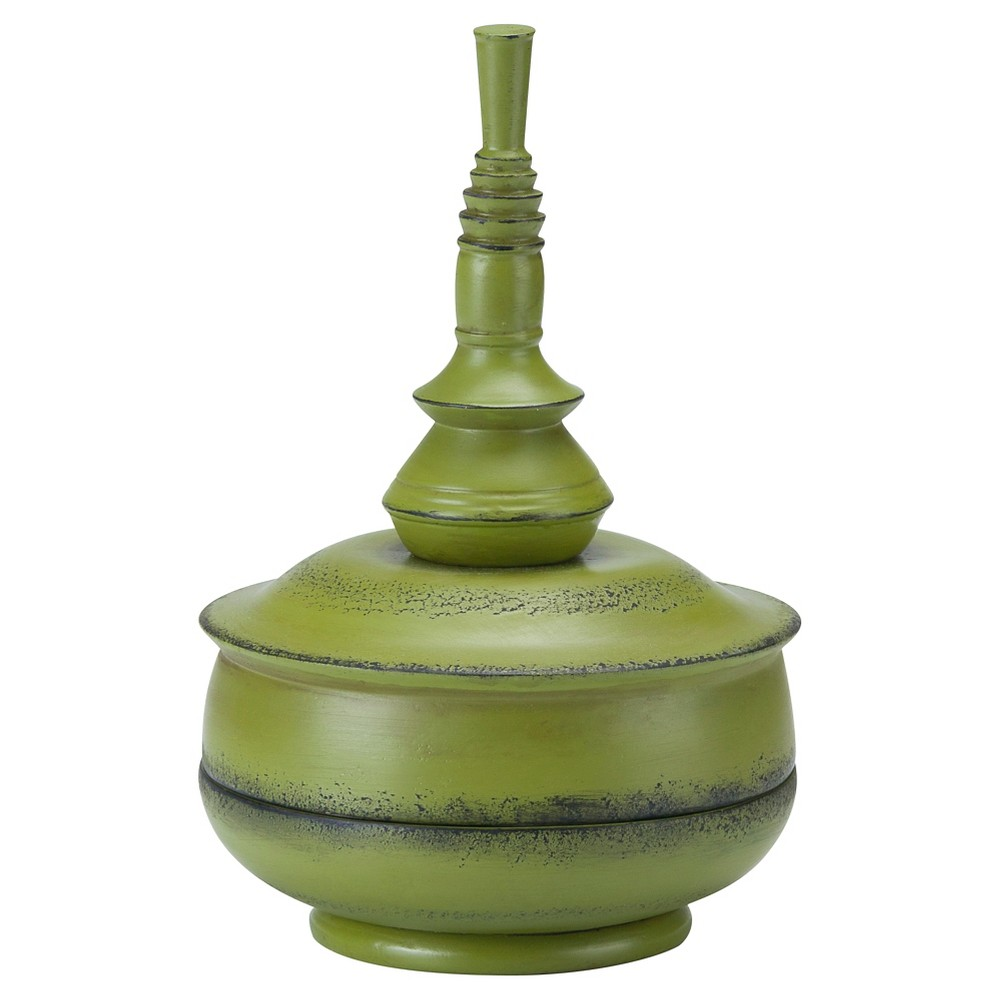 Image of 10 Outdoors Small Celery Balinese Finial - Green - Bombay Outdoors