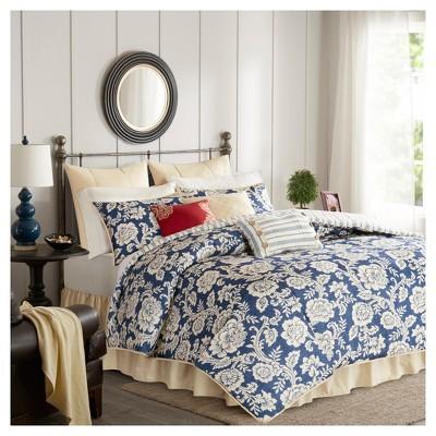Navy Rose Cotton Twill Comforter Set (Queen)9pc