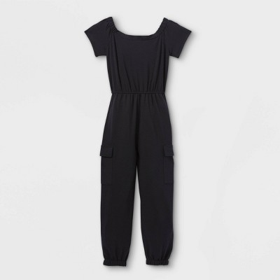 Girls' Off the Shoulder Knit Utility Jumpsuit - art class™