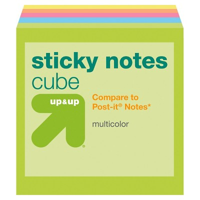 Sticky Notes Cube 3  x 3  Multicolor (Compare to Post-it® Notes)- up & up™