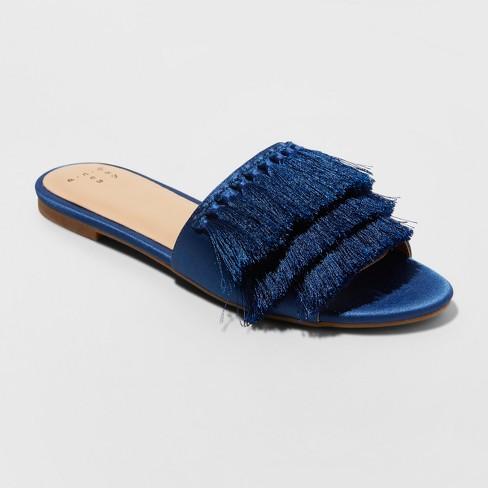 768f2a017ac2 Women s Benetta Wide Width Tassle Slide Sandals - A New Day™ Navy 8W ...