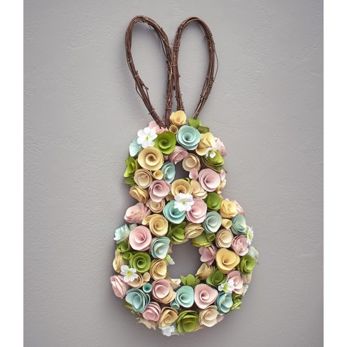 Lakeside Wood Curl Easter Bunny Wreath with Fake Flowers, Twigs - Hanging Spring Decor - image 1 of 1