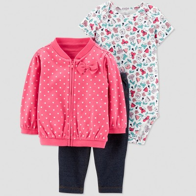 Baby Girls' 3pc Dots Floral Short Sleeve Cotton Cardigan Set - Just One You® made by carter's Pink/White Newborn