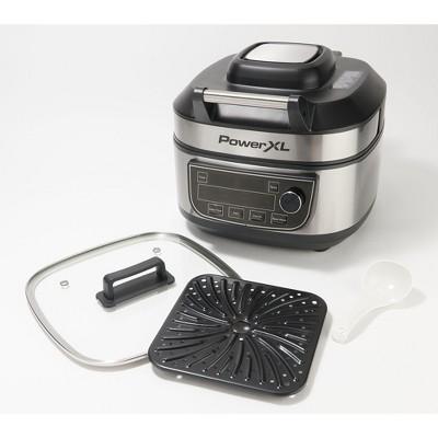 PowerXL 1550W 6-qt 12-in-1 Grill Air Fryer Combo with Glass Lid Refurbished