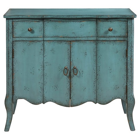Douglas Accent Chest with Two Doors & 1 Drawer Blue Distressed - Pulaski - image 1 of 2
