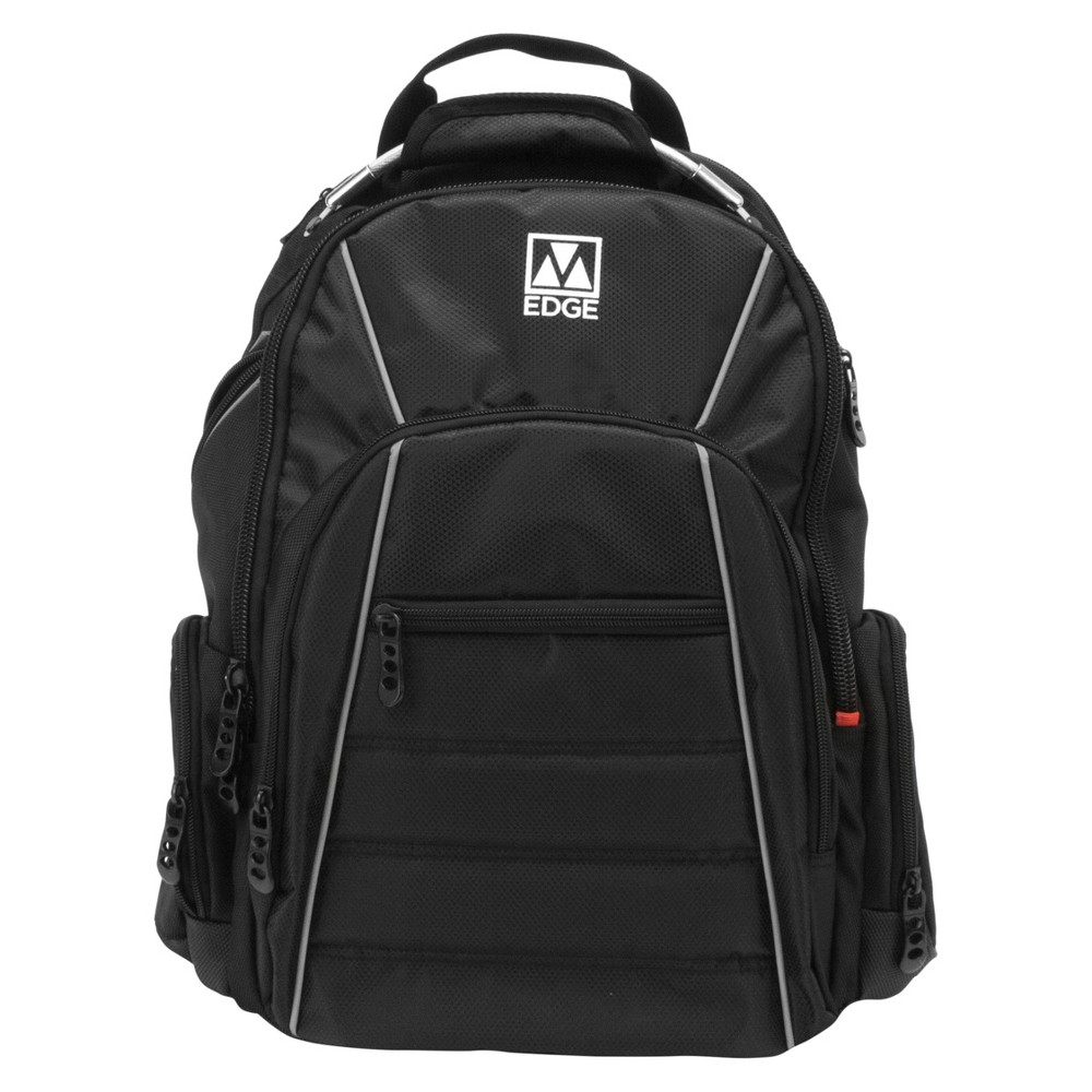 "Image of ""M-Edge 18"""" Cargo Backpack with Built-in 6000 mAh Portable Charger - Black"""