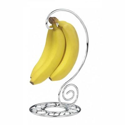 Home Basics Chrome Plated Steel Scroll Collection Banana Holder