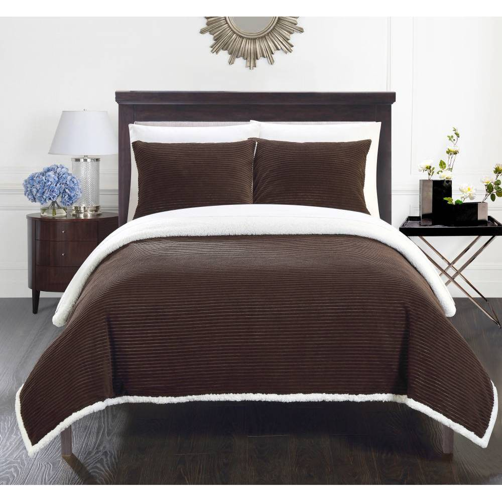 Image of 3pc Full/Queen Estonia Sherpa Blanket Set Brown - Chic Home Design