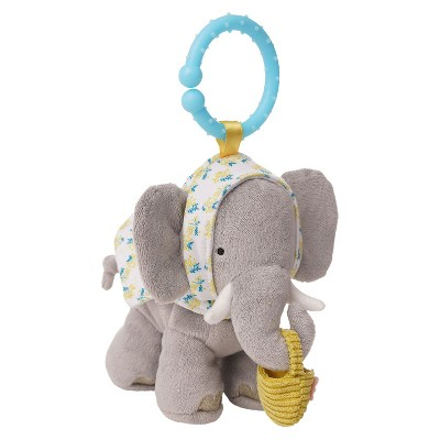 Manhattan Toy Fairytale Elephant Plush Baby Travel Toy with Chime, Crinkle Ears and Teether Clip-on Attachment