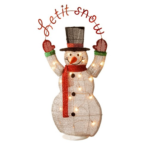 "3' 2D Tinsel Lit Snowman Holding a ""Let It Snow"" Sign - image 1 of 1"