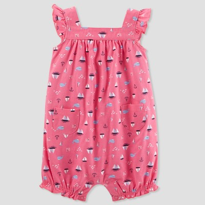 Baby Girls' 1pc Nautical Romper - Just One You® made by carter's Pink Newborn