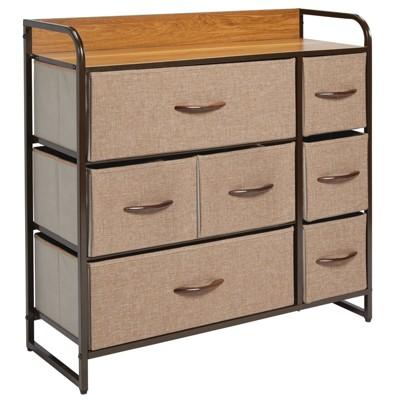mDesign Wide Dresser Storage Chest, 7 Fabric Drawers
