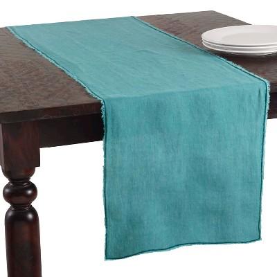 """16""""x72"""" Fringed Design Stone Washed Table Runner - Saro Lifestyle"""