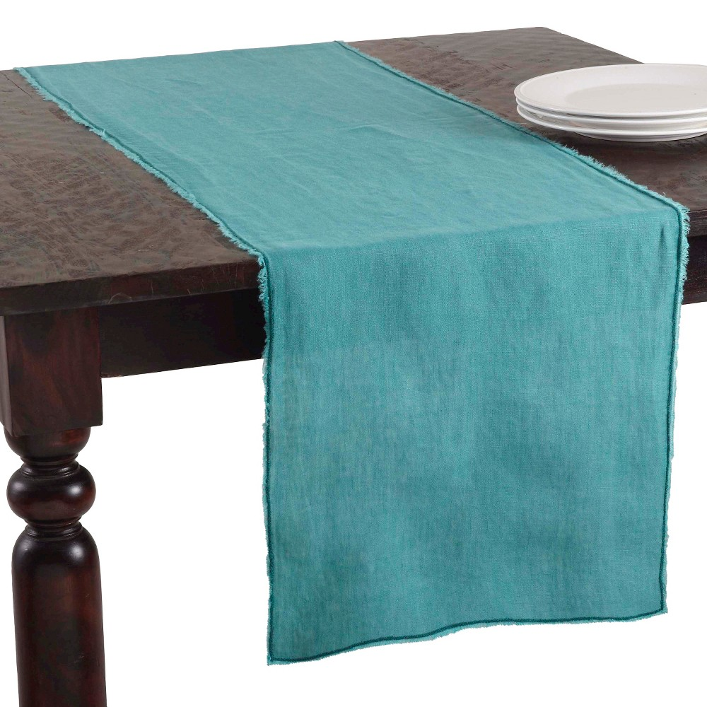 16 34 X72 34 Fringed Design Stone Washed Table Runner Sea Green Saro Lifestyle