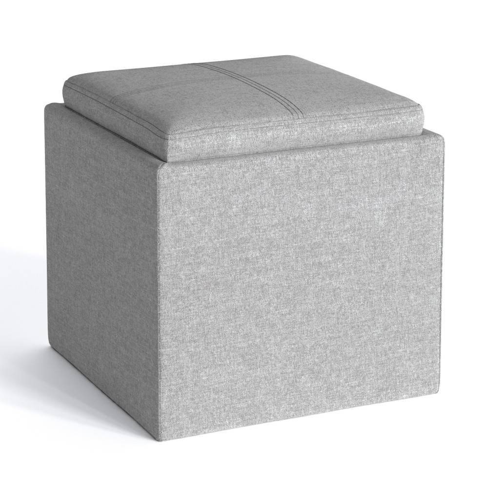 """Image of """"17"""""""" Townsend Cube Storage Ottoman with Tray Cloud Gray - Wyndenhall"""""""
