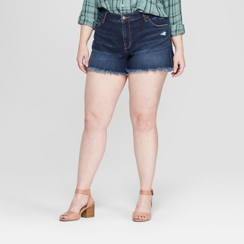 Women's Plus Size Raw Hem Jean Shorts - Universal Thread™ Dark Wash - image 1 of 3