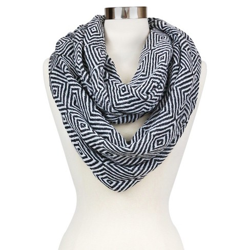 White Cozy Infinity Scarf With Diamond Darker Tone Design - image 1 of 2