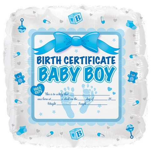 Baby Boy Birth Certificate Mylar Balloon - image 1 of 1