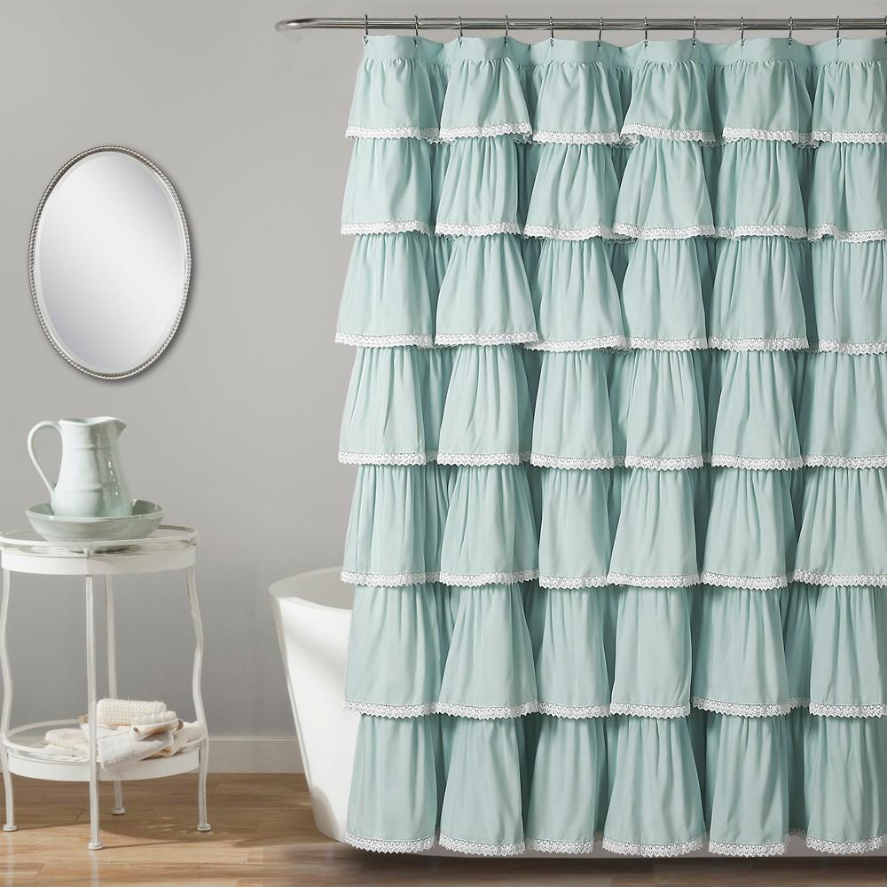 "Image of ""72""""x72"""" Ruffle Shower Curtain Blue - Lush Décor"""