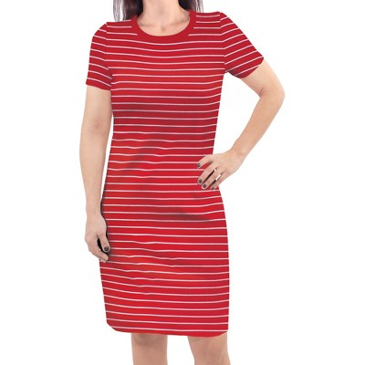 Touched by Nature Womens Organic Cotton Short-Sleeve Dress, Red Stripe