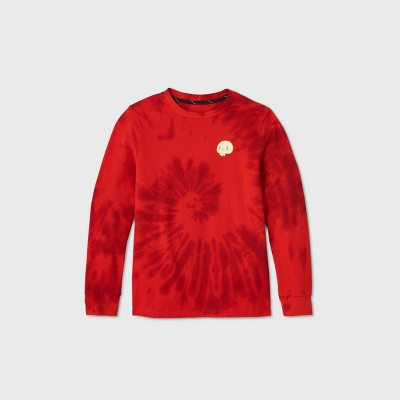 Boys' Long Sleeve Tie-Dye Skull Graphic T-Shirt - art class™ Red