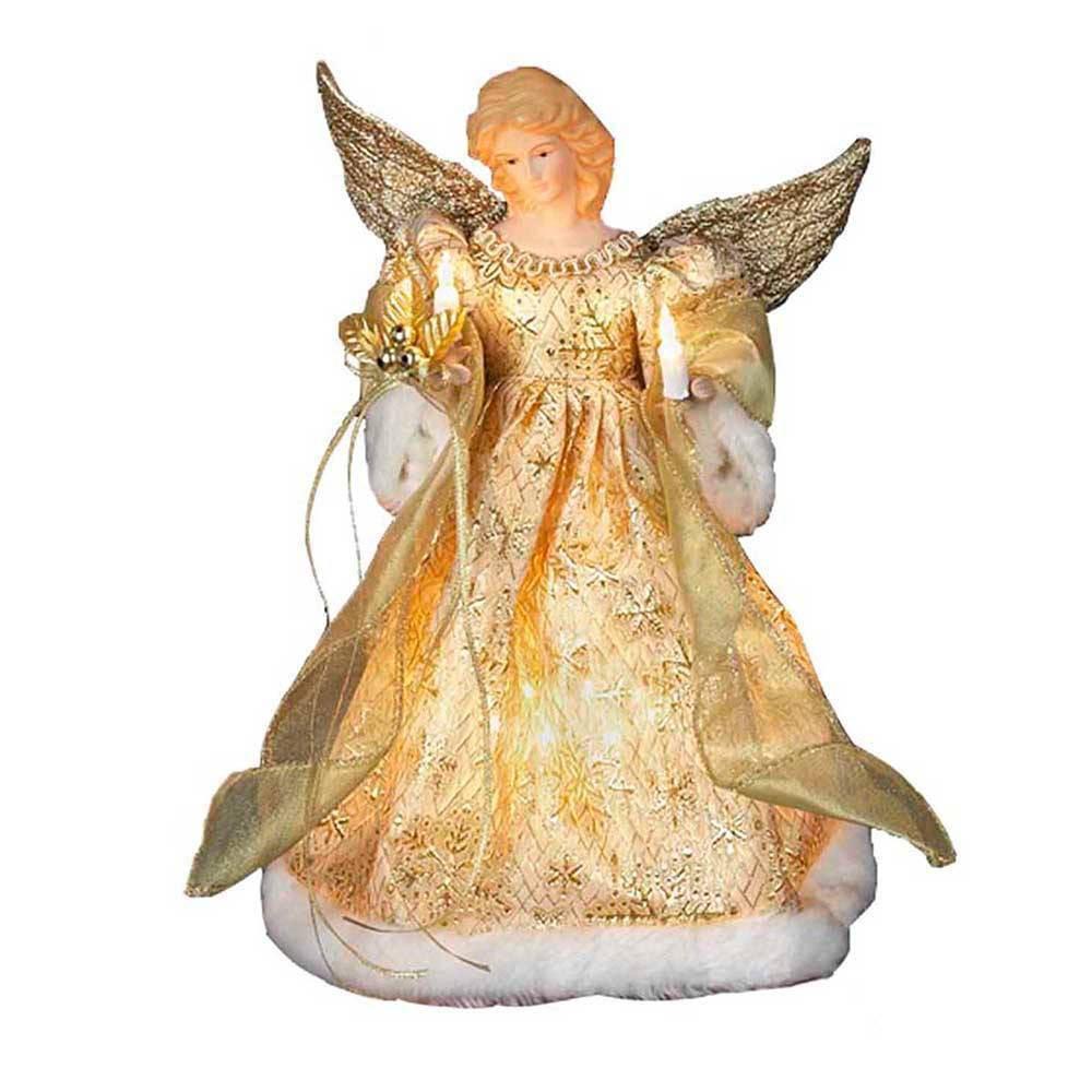 """Image of """"12"""""""" Kurt Adler 10 Light Angel Tree Topper Gold"""""""