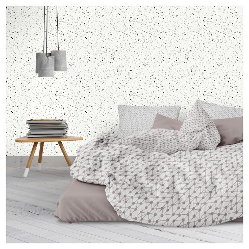 Tempaper - Spatter Self-Adhesive Removable Wallpaper - Black On White - image 1 of 2