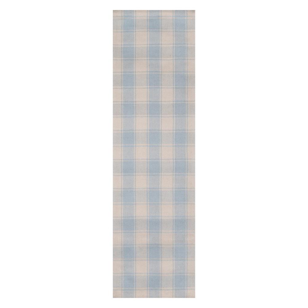 2 3 X8 Plaid Woven Runner Light Blue Erin Gates By Momeni