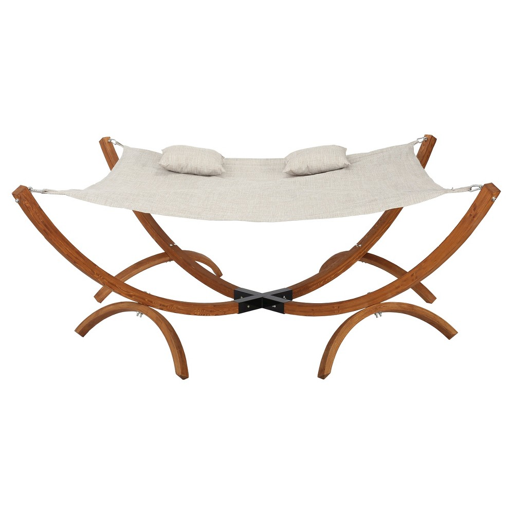 Image of Caritack Larch Wood and Mesh Square Hammock with Stand - Teak - Christopher Knight Home, Canvas