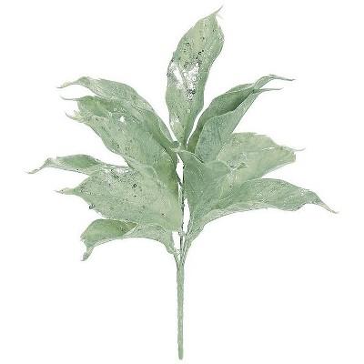 "Northlight 14"" Green and Silver Glitter Mini Hosta Leaves Artificial Christmas Spray"