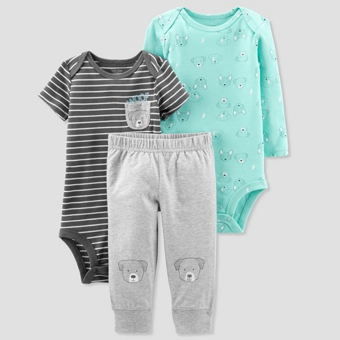 Baby Boys' 3pc Turn Me Around Striped Bear Set - Just One You™ Made by Carter's® Green - image 1 of 1