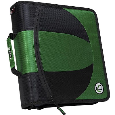 Case-it Dual Ring Zipper Binder, D-Ring, 1-1/2 Inches, Green